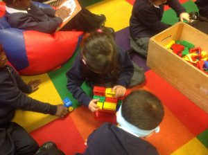 We worked together to build a house for the old lady in the story.