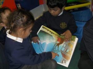 We read the story to each other in the sensory room.