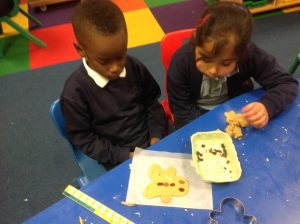 Counting the correct amount of buttons for our biscuits.