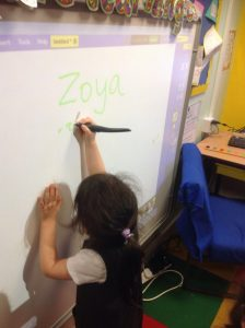 Practising writing skills on the interactive whiteboard