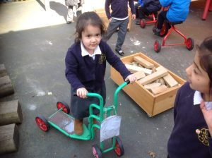 We made time to practise our gross motor skills using the wheeled toys.