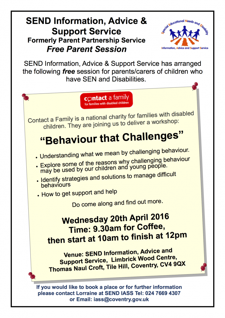 IASS Free Parent session Contact a Family 20-04-16