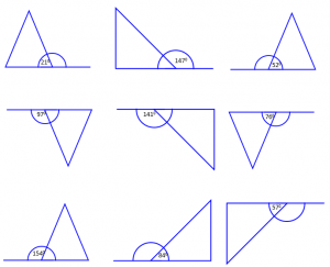 Triangles on straight line