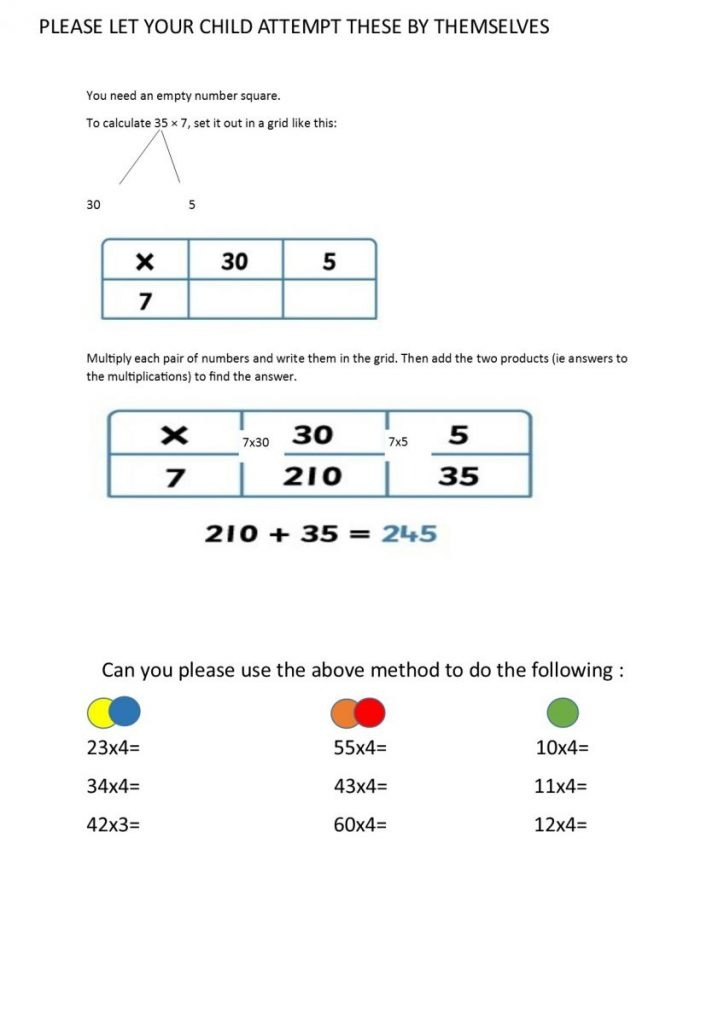 To Use A Grid Method To Multiply Two Digit Numbers